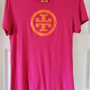 Tory Burch logo tops Pink Orange. Size small